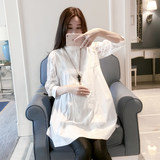 Loose big size pregnant women spring and autumn top 2019 new pregnancy a version of the doll model pregnant women shirt white shirt