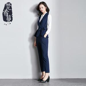 梵希蔓2018春装新款职业马甲套装女v领气质OL商务收腰显瘦两件套