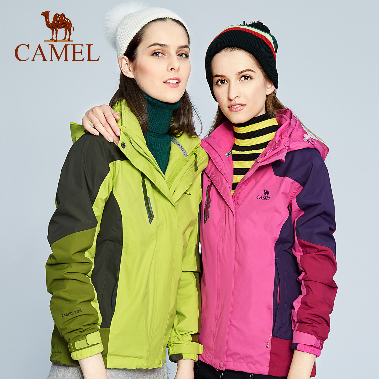 骆驼户外冲锋衣 三合一两件套保暖抓绒冲锋衣潮牌女