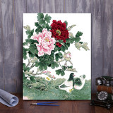 Diy digital oil painting landscape flowerChinese flower bird hand-painted color painting custom large living room decoration painting package mail
