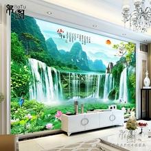 电视背景墙壁纸3D立体山水画瀑布风景装饰壁画定制5D客厅沙发墙纸