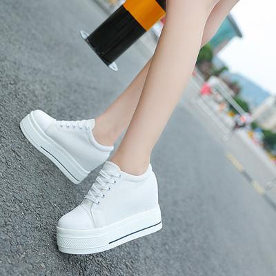 2017新款秋季百搭内增高女鞋8cm 白色休闲松糕韩版厚底运动小白鞋