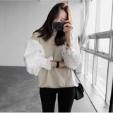 2019 Spring and Autumn Korea East Gate thin small fragrance wind round collar long-sleeved shirt sleeve top stitched loose women's clothing