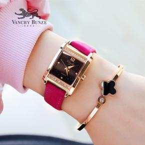 潮流时尚高档复古方形气质百搭星空女表情侣皮带手表带钻腕表防水