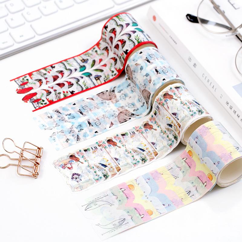 日式手帐文具 index贴纸型胶带蘑菇猫咪小象沙漏标签贴索引贴书签