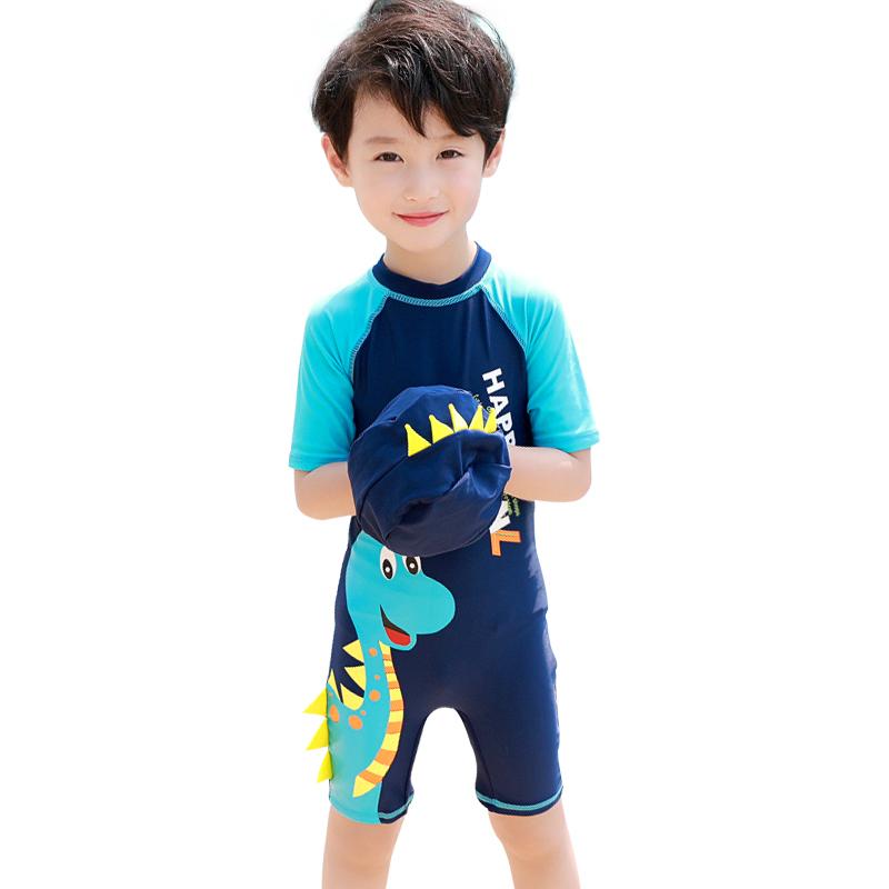 儿童泳衣男童女童连体中大童小童长短袖沙滩防晒男孩宝宝可爱泳衣
