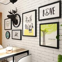 现代简约客厅装饰画创意照片墙壁画框酒吧发廊发财鹿壁饰壁挂饰品
