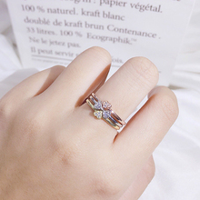 Ring Female Clover Trinity 925 Silver Creative Simple Accessories Triple-tone Net Red Living Opening