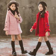 韩版 儿童冬装 加厚中大童呢大衣 女童洋气毛呢子外套春秋装 2019新款图片