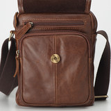 Leather Men's Bag Vertical Top Layer Leather Casual Messenger Bag Mini Bag Retro Youth Shoulder Bag Phone Case