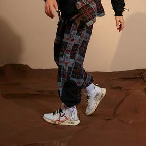 【FLAM 官方网店】嘻哈潮牌国潮 FYP 格子印花拼接抽绳束脚裤情侣