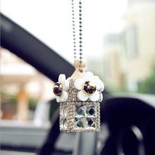 时尚汽车后视镜挂件香水空瓶小雏菊挂饰镶钻汽车摆件汽车用内饰女