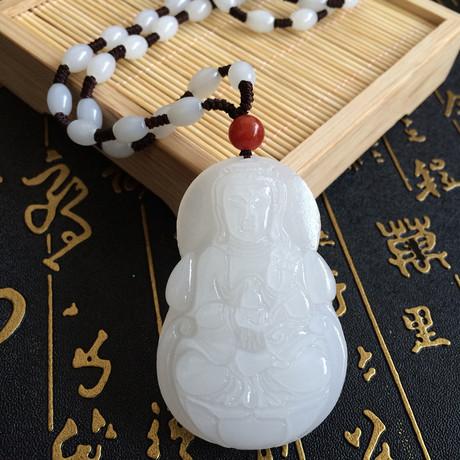 【天天特价】新疆阿富汗白玉观音吊坠菩萨挂坠玉石玉器牌项坠男款