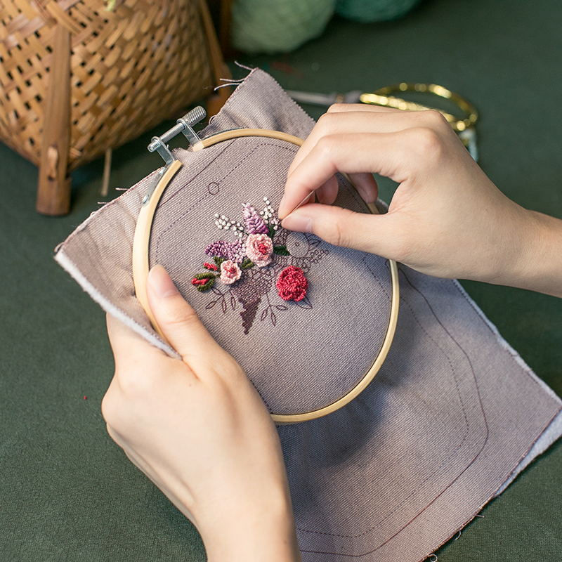 王的手创 手工刺绣口金包DIY材料包立体创意制作成人布艺套装包包