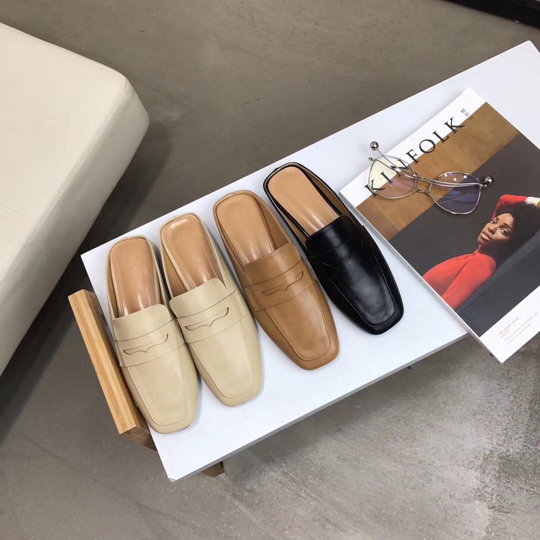 2018春夏新款韩版方头平跟平底外穿半拖鞋软底防滑凉鞋单鞋女