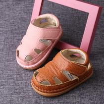 宝宝真皮凉鞋夏1-2-3岁男女宝宝学步鞋包头凉鞋软底婴儿皮鞋单鞋