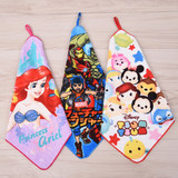 Variety of cotton cute square scarf cartoon wash small towel Kindergarten with hook can write name square scarf