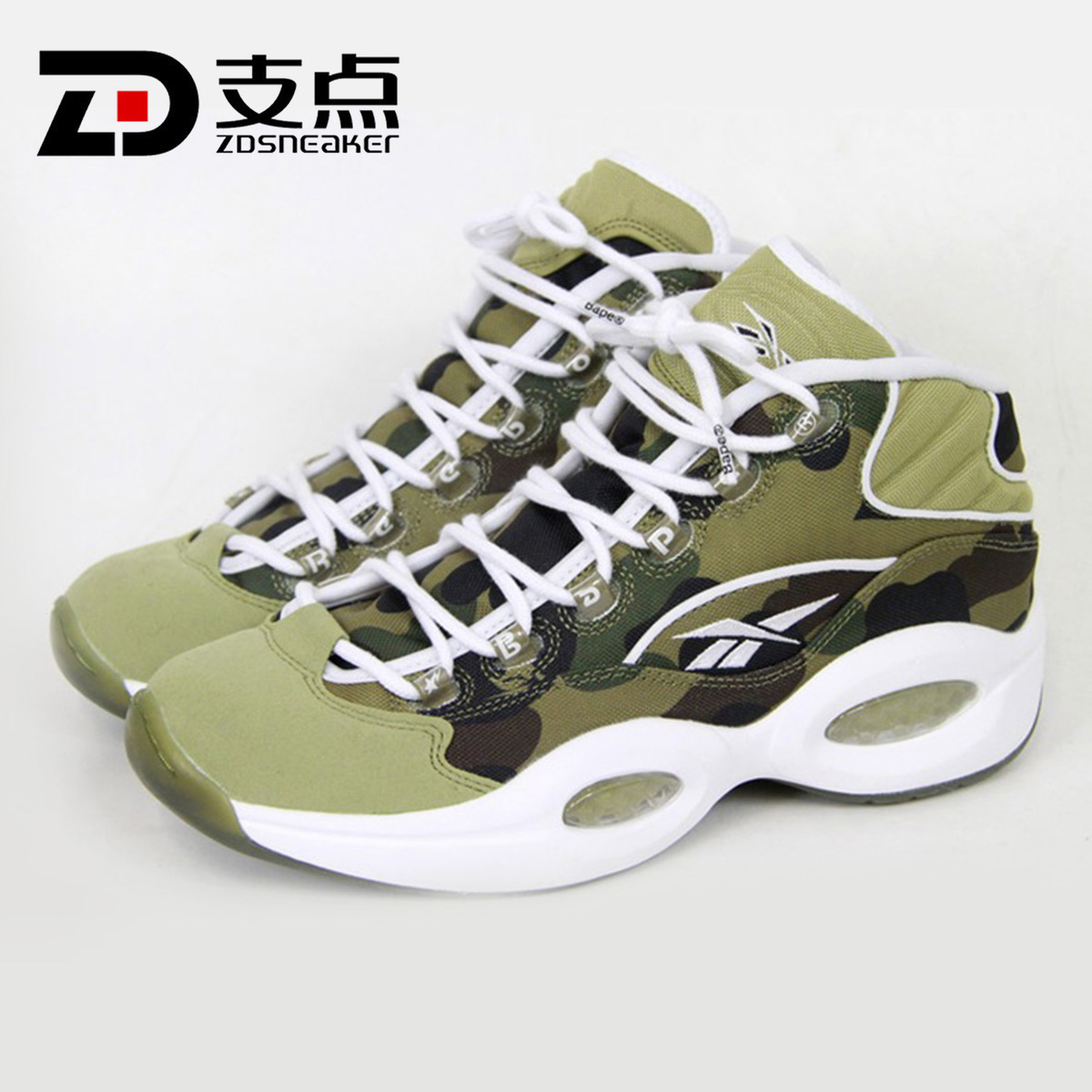 BAPE x Reebok Question 1 MID迷彩猿人限量艾佛森女篮球鞋BD4232
