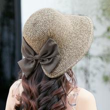 遮阳帽女旅行可折叠草帽子沙滩防晒太阳帽蝴蝶结韩版潮流大檐帽子