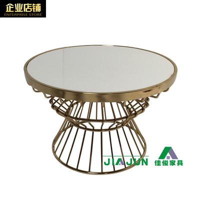 现代不锈钢圆茶几小户型休闲茶桌水晶白大理石圆几设计师定制6615