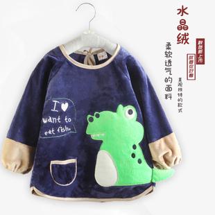 原创轻奢秋冬季新款宝宝罩衣儿童反穿衣婴幼儿水晶绒防水吃饭长袖