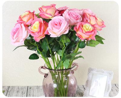 单支仿真玫瑰花假花套装客厅餐桌装饰干花花束摆件花艺情人节热卖