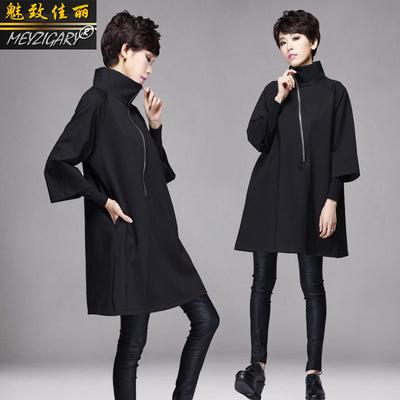 2019春季新款斗篷a版外套女中长款 欧洲站黑色宽松显瘦七分袖外套