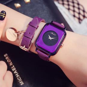 玛莎莉正品新款时尚紫蓝色真皮女士手表女韩版简约女款潮流时装表