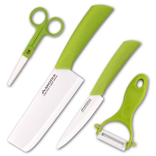 美帝亚陶瓷刀套装菜刀水果刀刨刀全套厨房刀具五件套含刀架礼盒装