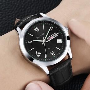 韩版学生超薄男士黑金钢带运动夜光三眼仿六针黑色手表