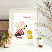 儿童房卧室客厅2019小件简单学生手工 十字绣卡通动漫可爱线绣新款