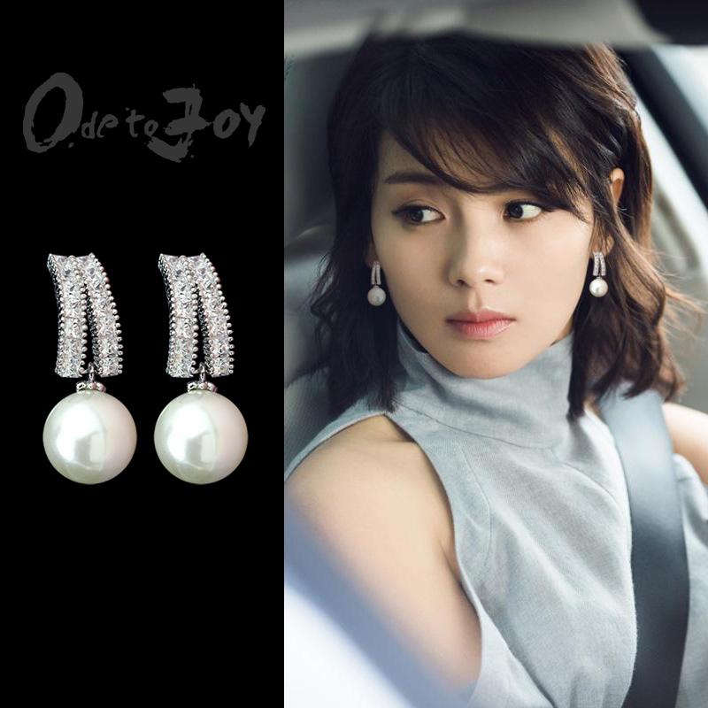 韩国纯银针珍珠气质耳环简约百搭长款吊坠个性耳钉耳坠短款耳饰女