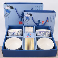 Longevity gift blue and white porcelain bowl custom ceramic tableware tableware set gift wedding opening gift box move to practical