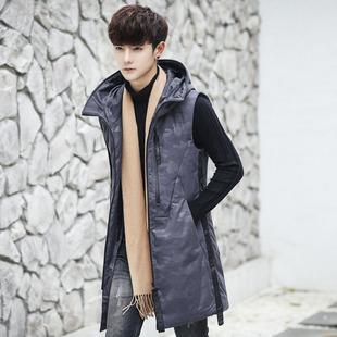 格富诺新款冬装羽绒棉马甲男中长款休闲连帽背心保暖外套韩版潮流