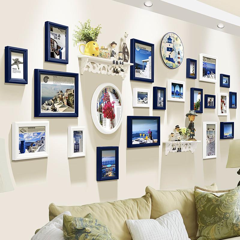 添色彩绘欧式客厅照片墙创意置物架挂墙相框墙组合大墙面相片框