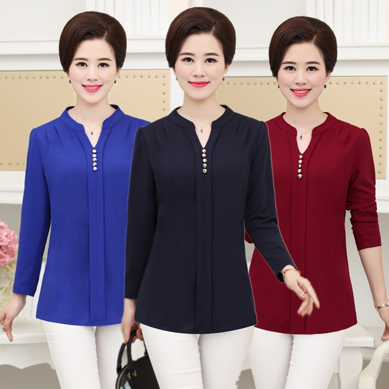 Spring and Autumn new women's long-sleeved middle-aged mother loaded large size was thin solid color shirt
