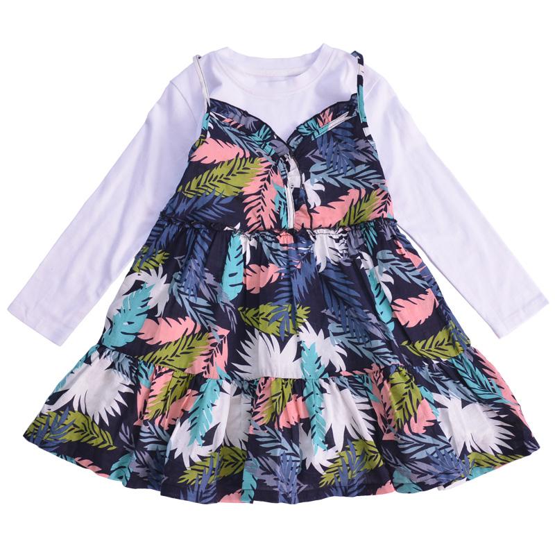 童装女童碎花连衣裙2018春款中大儿童假两件公主裙长袖拼接裙
