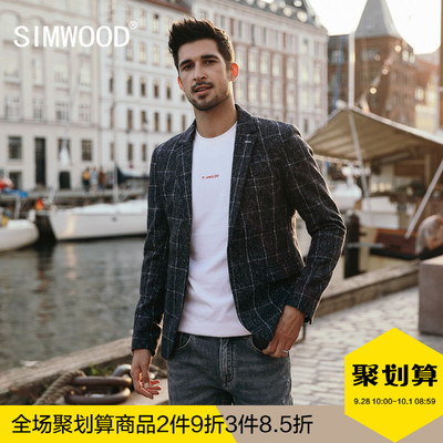 Simwood简木男装2018秋季新款混羊毛格子西服男士休闲西装外套潮
