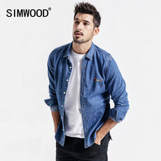 Simwood Men's Fall 2019 New Jeans Shirt Men's Embroidered Top Jeans Shirt Coat