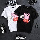 夏装 韩版 女2018新款 学生 情侣t恤衣服宽松情侣装 半袖 小猪佩奇短袖