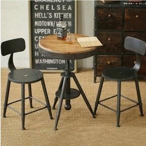 铁艺茶几复古实木小圆桌美式餐椅餐厅咖啡桌酒吧休闲桌创意电脑桌