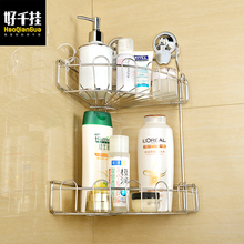 Suction Cup stainless steel shelf sanitary bathroom triangle shelf kitchen shelf hanging basket double nail-free rust