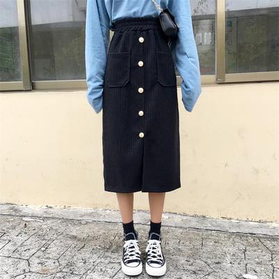 冷淡风裙子复古港味中长款秋款半身裙日系樱田川岛网红同款港风日