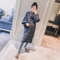 春装新款韩版钉珠金丝绒时尚显瘦孕妇辣妈长款连衣裙子2019孕妇装