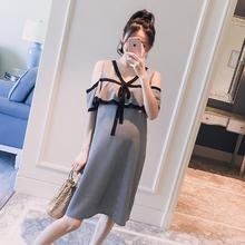 孕妇装2019夏装新款韩版V领格子漏肩荷叶边时尚中长款孕妇连衣裙