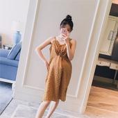 韩版 孕妇辣妈连衣裙 吊带v领格子显瘦甜美时尚 2018夏装 孕妇装 新款图片