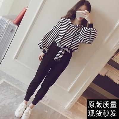 秋装新款女学生韩版卫衣两件套宽松显瘦运动衣休闲运动服春季套装