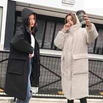 棉服女中长款韩版加厚19冬季连帽宽松显瘦胖MM大码棉衣bf学生外套