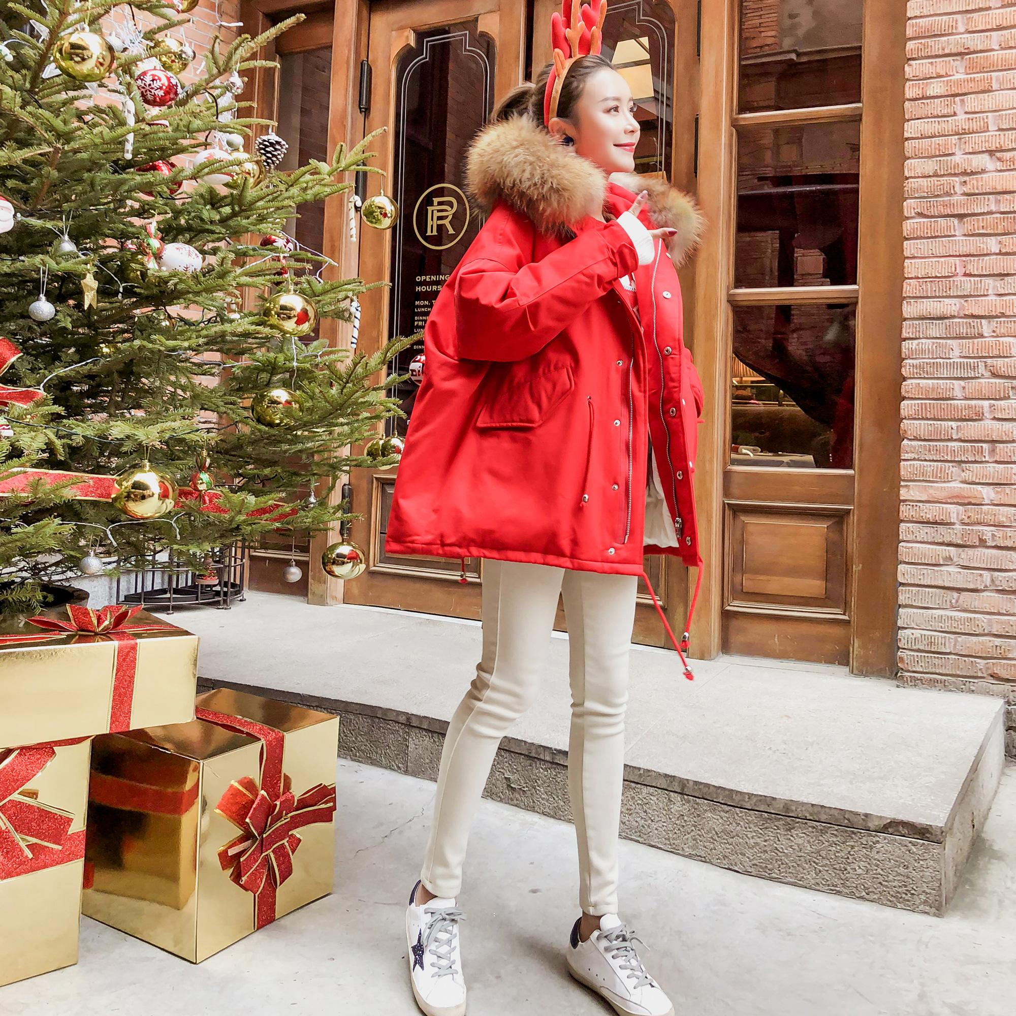 蓬蓬收腰羽绒棉服外套女冬季短款chic大毛领棉衣oversize工装棉袄满229元减10元