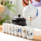 Kungfu tea set, tea art, tea ceremony accessories, ceramic fragrance cup, straight-mouth cup, blue-and-white porcelain single-tasting tea cup, fragrance-retaining cup